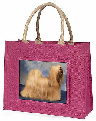 Lhasa Apso Dog Large Pink Shopping Bag Christmas Present Idea, AD-LA1BLP