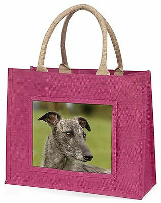 Lurcher Dog Large Pink Shopping Bag Christmas Present Idea, AD-LU1BLP
