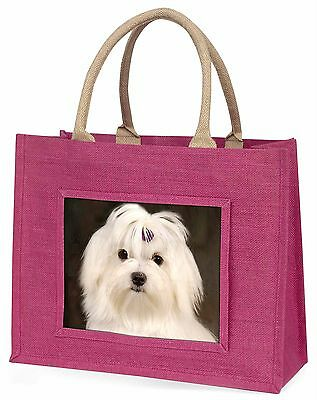 Maltese Dog Large Pink Shopping Bag Christmas Present Idea, AD-M1BLP
