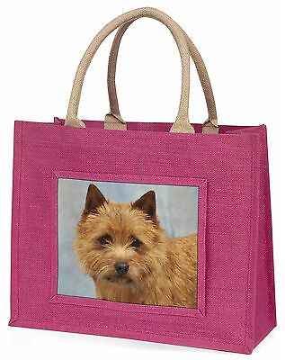 Norfolk-Norwich Terrier Dog Large Pink Shopping Bag Christmas Present, AD-NT2BLP