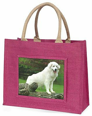 Pyrenean Mountain Dog Large Pink Shopping Bag Christmas Present Idea, AD-PM1BLP