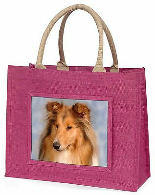 Rough Collie Dog Large Pink Shopping Bag Christmas Present Idea, AD-RC1BLP