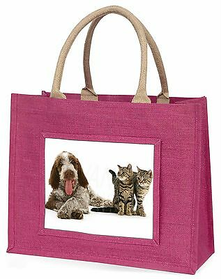 Italian Spinone Dog and Kittens Large Pink Shopping Bag Christmas Pre, AD-SP1BLP