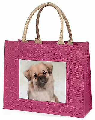 Tibetan Spaniel Dog Large Pink Shopping Bag Christmas Present Idea, AD-TS1BLP