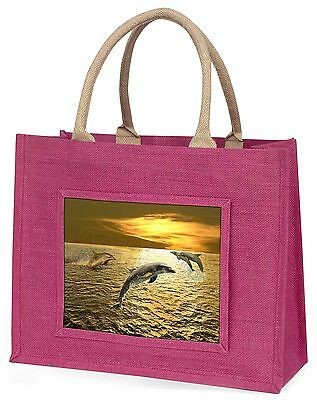 Gold Sea Sunset Dolphins Large Pink Shopping Bag Christmas Present Ide, AF-D4BLP