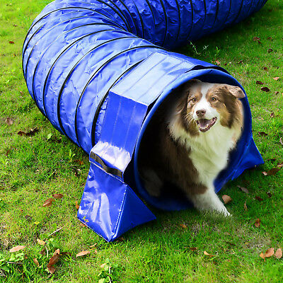 Dog Agility Exercise Training Tunnel Sand Bags Holder Fixation Blue PVC