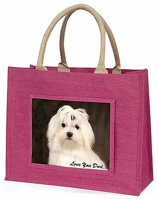 Maltese Dog 'Love You Dad' Large Pink Shopping Bag Christmas Present , DAD-77BLP