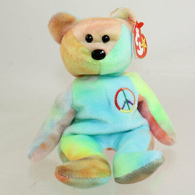 TY Beanie Baby - PEACE the Ty-Dyed Bear (8.5 inch - Blue/Green) MWMT's
