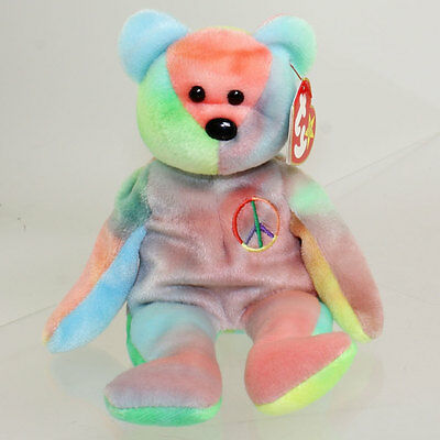TY Beanie Baby - PEACE the Ty-Dyed Bear (8.5 inch - Red/Blue) (MWMT)