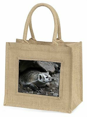 Badger on Watch Large Natural Jute Shopping Bag Christmas Gift Idea, ABA-2BLN