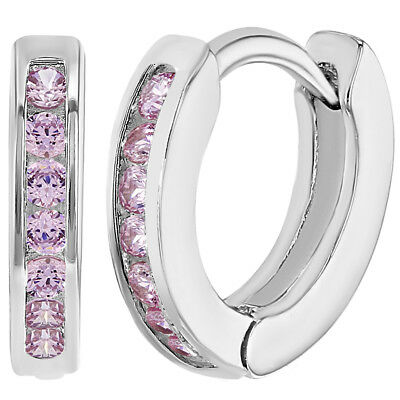 Rhodium Plated XS Tiny CZ Crystal Huggie Hoop Toddler Girls Earrings 10mm