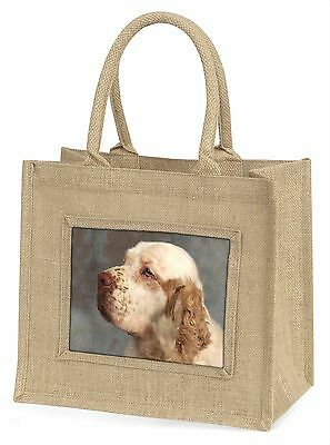 Clumber Spaniel Dog Large Natural Jute Shopping Bag Christmas Gift Id, AD-CS1BLN