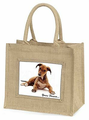 Lurcher Dog 'Yours Forever'  Large Natural Jute Shopping Bag Christma, AD-LU4BLN
