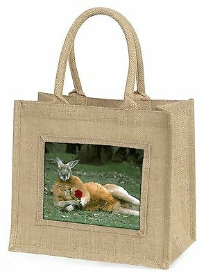 Kangaroo with Red Rose Large Natural Jute Shopping Bag Christmas Gift , AK-1RBLN