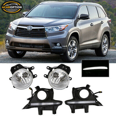 Fits 14-16 Toyota Highlander Front Fog Lamp Foglight Pair With DRL Daylight