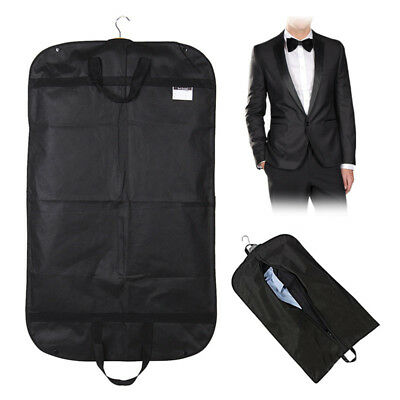 Black Suit Dress Coat Garment Storage Travel Carrier Bag Cover Hanger Protect AU