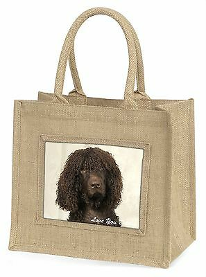 Irish Water Spaniel 'Love You Dad' Large Natural Jute Shopping Bag Ch, DAD-59BLN