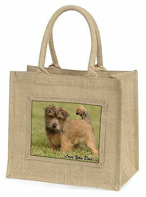 Norwich/Norfolk Terrier 'Love You Dad' Large Natural Jute Shopping Ba, DAD-80BLN