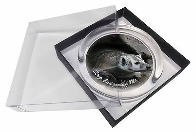 Badger-Stop Badgering Me! Glass Paperweight in Gift Box Christmas Prese, ABA-3PW