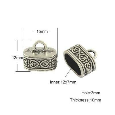 Packet of 6 x Antique Silver Tibetan 10 x 15mm Kumihimo Oval End Caps HA11850