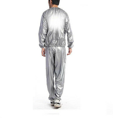 TRIXES Unisex Silver PVC Sauna Sweat Two Piece Suit Lose Weight Body Cleanse Exe