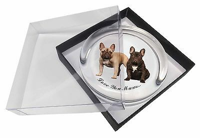 French Bulldogs 'Love You Mum' Glass Paperweight in Gift Box Chris, AD-FBD1lymPW