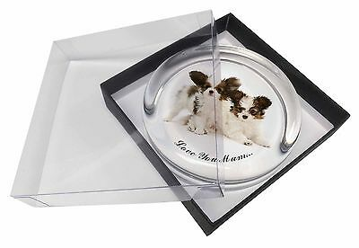 Papillon Dogs 'Love You Mum' Glass Paperweight in Gift Box Christm, AD-PA65lymPW