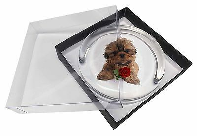 Shih Tzu Dog with Red Rose Glass Paperweight in Gift Box Christmas Pr, AD-SZ4RPW