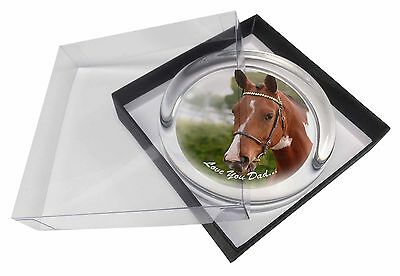 Horse 'Love You Dad' Sentiment Glass Paperweight in Gift Box Christma, DAD-141PW