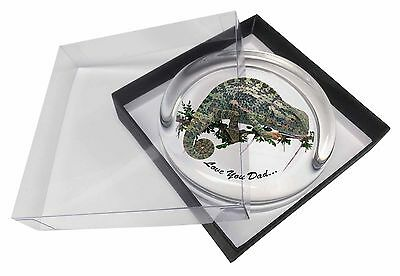 Chameleon Lizard 'Love You Dad' Glass Paperweight in Gift Box Christm, DAD-147PW