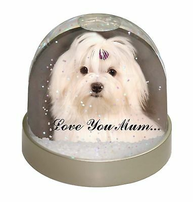 Maltese Dog 'Love You Mum' Photo Snow Dome Waterball Stocking Filler, AD-M1lymGL