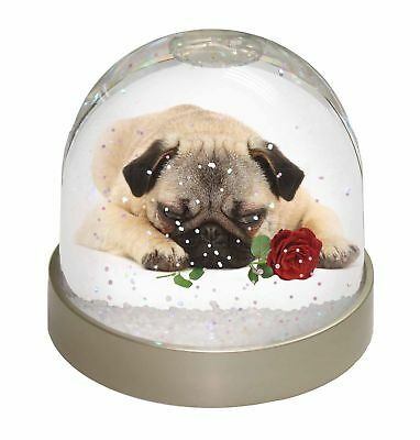 Pug Dog with a Red Rose Photo Snow Globe Waterball Christmas Gift, AD-P92RGL