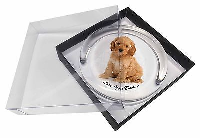 Cockerpoodle 'Love You Dad' Glass Paperweight in Gift Box Christmas Pr, DAD-19PW
