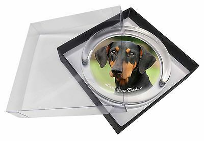Doberman Pinscher 'Love You Dad' Glass Paperweight in Gift Box Christm, DAD-21PW
