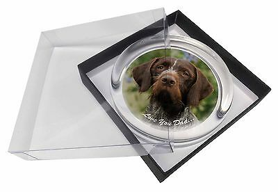 German Pointer 'Love You Dad' Glass Paperweight in Gift Box Christmas , DAD-48PW