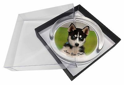 Husky Pup 'Love You Dad' Glass Paperweight in Gift Box Christmas Prese, DAD-56PW