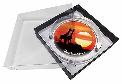 Sunset Giraffes 'Soulmates' Sentiment Glass Paperweight in Gift Box C, SOUL-67PW