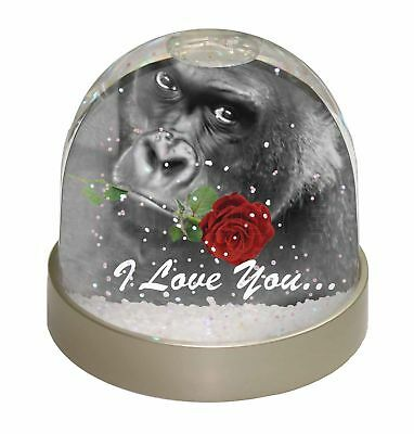 /'I Love You/' Gorilla with a Red Rose Large Pink Shopping Bag Christma AM-19RBLP