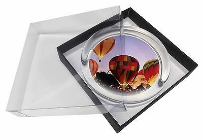 Hot Air Balloons at Night Glass Paperweight in Gift Box Christmas Pres, SPO-B2PW