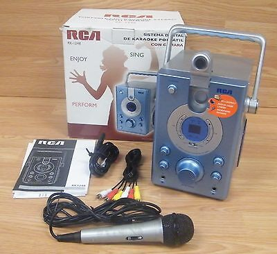 RCA (RK-1248) Silver / Blue Portable Karaoke Stereo With Camera & Microphone