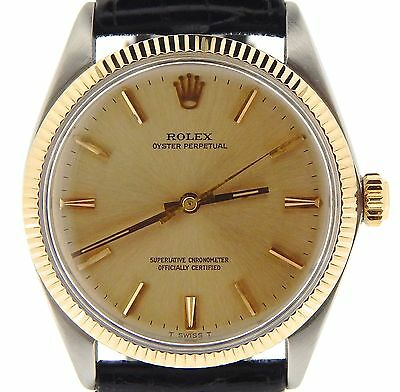 Mens Rolex 14K Yellow Gold/Stainless Steel Oyster Perpetual Champagne Black 1005