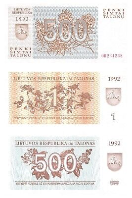 Lithuania 1 + 500 + 500 Talonas 1992-93 Set of 3 Mint UNC Uncirculated Banknotes