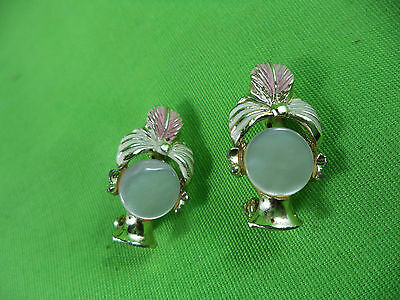 Vintage Pair of Delicate Lapel Pins MOP Orchid Design Sweater Collar