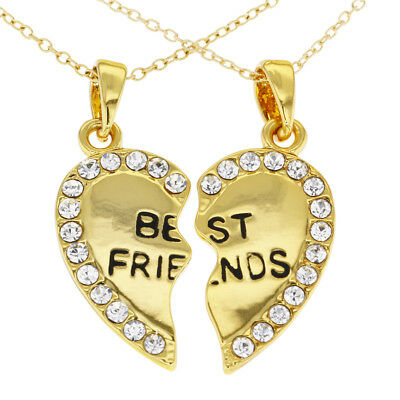 """Gold Tone Best Friends Forever Clear Crystals Heart Necklace Pendant 19"""""""
