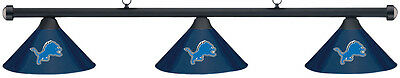 NFL Detroit Lions Blue Metal Shade & Black Bar Billiard Pool Table Light