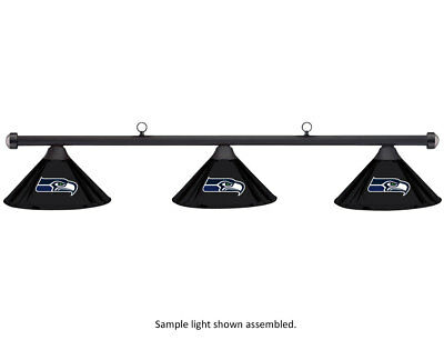 NFL Seattle Seahawks Black Metal Shade & Black Bar Billiard Pool Table Light