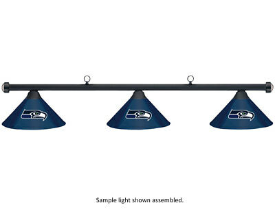 NFL Seattle Seahawks Blue Metal Shade & Black Bar Billiard Pool Table Light
