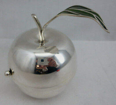 Sterling Silver 925 Apple Shaped Honey Dish Pot Jar With Spoon For Rosh Hashanah