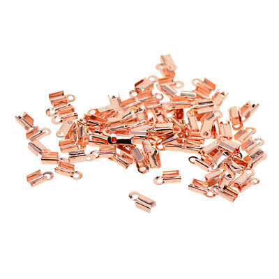 Pack of 100 Ribbon Crimp Cord Ends Rose Gold Plated Findings Necklace Supply