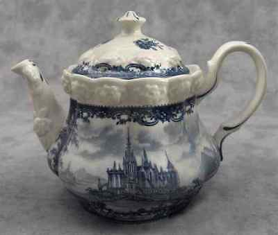 BLUE & CREAM TRANSFERWARE VICTORIAN COUNTRY TOILE TEAPOT Embossed FLORAL Detail